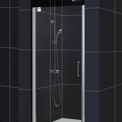 DreamLine - DreamLine SHDR-4132720-01 Elegance 32 1/4 to 34 1/4in Frameless Pivot Shower Doo - The Elegance pivot shower door combines a modern frameless glass design with premium 3/8 in. thick tempered glass for a high end look at an excellent value. The collection is extremely versatile, with options to fit a wide range of width openings from 25-1/4 in. up to 61-3/4 in.; Smart wall profiles make for an easy and adjustable installation for a perfect fit. 32 1/4 - 34 1/4 in. W x 72 in. H ,  3/8 (10 mm) thick clear tempered glass,  Chrome or Brushed Nickel hardware finish,  Frameless glass design,  Width installation adjustability: 32 1/4 - 34 1/4 in.,  Out-of-plumb installation adjustability: Up to 1 in. per side,  Frameless glass pivot shower door design,  Elegant pivot mechanism and anodized aluminum wall profiles,  Door opening: 27 3/4 in.,  Reversible for right or left door opening installation, Aluminum