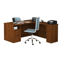 Bestar - Bestar Mason L-Shape Desk with Storage Unit in Tuscany Brown - Bestar - office Sets - 8486063 - Mason is an elegant collection that is well balanced between its traditional look and its straight lines that bring a modern style. The workstation offers four different storage options to keep your office neat and tidy.