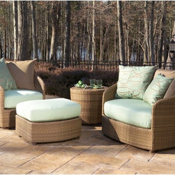 Woodard - Whitecraft by Woodard Oasis Conversation Collection - WD2489 - Shop for Tables and Chairs Sets from Hayneedle.com! Turn your backyard into a private oasis with the Whitecraft by Woodard Oasis Conversation Collection. These comfortable horseshoe-shaped loungers are perfect for lazing the afternoon away under the hot summer sun. Includes one standard lounger and one extra wide lounger that could be shared. A coordinating ottoman can serve as extra seating or the perfect place to put up your feet. A design that stretches back over 500 years to the Ming dynasty the horseshoe-style chair came very much en vogue in nineteenth-century England with its gracefully sloping semicircular back and arms and has remained a staple of furniture decor in the Western world ever since. The attractive hand-woven wicker also recalls the tropical Egyptian and Persian roots of this material inflecting your outdoor living space with a constant spot of sunshine. The plush seat and back cushions are offered in Canvas Spa upholstery of durable outdoor fabric. And the aluminum frame provides a strong durable base that is still lightweight enough to be moved around your patio. Purchase the Oasis Conversation Collection just as it's pictured or shop below to create your own custom set.Important NoticeThis item is custom-made to order which means production begins immediately upon receipt of each order. Because of this cancellations must be made via telephone to 1-800-351-5699 within 24 hours of order placement. Emails are not currently acceptable forms of cancellation. Thank you for your consideration in this matter.Woodard: Hand-crafted to Withstand the Test of TimeFor over 140 years Woodard craftsmen have designed and manufactured products loyal to the timeless art of quality furniture construction. Using the age-old art of hand-forming and the latest in high-tech manufacturing Woodard remains committed to creating products that will provide years of enjoyment.Superior Materials for L
