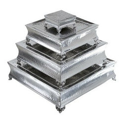"Benzara - Set of 4 Square Aluminum Cake Stands for Parties or Weddings - Set of 4 square aluminum cake stands for parties or weddings 22"", 18"", 14"", 6""W. Some assembly may be required."