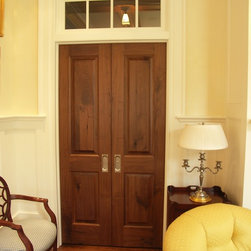 Interior Doors - Stained Rustic Walnut double door with painted transom, frame & trim.