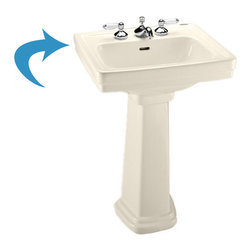 "Toto - Toto LPT532N Sedona Beige Promenade Pedestal Lavatory, Sink Only Single Hole - The Toto LT532#12 is a self-rimming lavatory, from Toto USA. The Toto LT532#12 measures 24"" x 19"", faucet mounts on single hole and comes in Sedona beige finish"