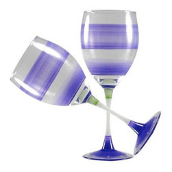 Retro Stripe Purple Wine Glasses  Set of 2 - This lovely hand painted wine glass is in a retro style.  It is purple with accent colors.  Perfect for any season or occasion.  Something to be handed down from generation to generation.  Proudly hand painted in the USA.