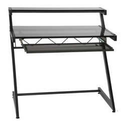 Eurostyle - Z Deluxe Desk-Small+Shelf-Graphite Black/Smoked - Graphite black powder, epoxy coated steel frame