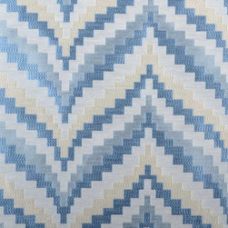 Highland Court - Flare Fabric, Chambray - Flare is from the Highland Court - Silk Traditions Collection. This colorful zig zag pattern in drapes or decorative pillows would make a statement in any room.