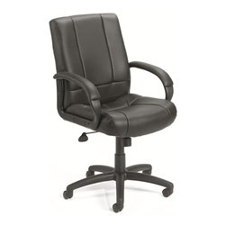 BossChair - Boss Caressoft Executive Mid Back Chair - Beautifully upholstered with ultra soft and durable Caressoft upholstery. Executive Mid Back styling with extra lumbar support. Padded armrests covered with Caressoft upholstered. Large 27 nylon base for greater stability. Upright locking position. Pneumatic gas lift seat height adjustment. Adjustable tilt tension control. Hooded double wheel casters. Matching guest chair model (B7909).