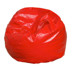 Best Selling Home Decor - Jack and Jill Red Child size Bean Bag - Comfortable and durable, this child size bean bag chair has a vinyl cover and is filled with a combination of long-lasting polystyrene beans as well as soft and supple foam. They are perfect for kids to sit in a bedroom, home theater rooms, family and game rooms. Complete with an inner bag and a puncture-proof outer vinyl cover that is double-stitched with hidden seams. Color: Various; Materials: Vinyl, polystyrene beans, foam; Weight: 6 pounds; Diameter: 28 inches; Fill: Virgin polystyrene beans and foam; Closure: Double YKK zipper is added for durability and then sealed shut for safety; Cover: Cover is double-stitched along all seams and is not removable; also includes hidden stitching and seams; Puncture proof; Care Instructions: Spot Clean; Dimensions: 20 inches high x 28 inches wide x 28 inches deep; Made in the US; Trademarked; Kid friendly; Separate lining insert is not intended for use without an outer cover.