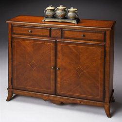 Butler - Console Cabinet in Antique Cherry - Selected solid Woods, Wood products and choice veneers.