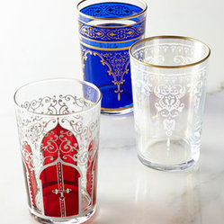 "Horchow - Six ""Moroccan"" Tea Glasses - Bring the mystique of Morocco into your home with these petite, eastern-inspired tea glasses. Each color features a different Moroccan motif. Made of glass. Select color when ordering. Hand wash. Set of six; each, 2""Dia. x 3.75""T. Imported."