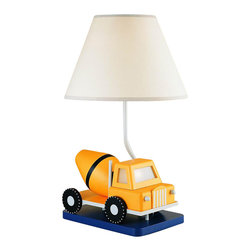Cal Lighting - Juvenile Construction Truck w Night Light Lamp - Requires 60W bulb (not included). Yellow construction truck with niter light lamp. Blue & White finish. Height: 20.25 in.. Base: 10.5 in. x 7 in.. Weight: 4.84 lbs.
