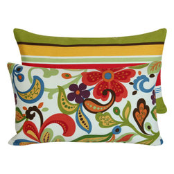 "Chloe & Olive - Outdoor Throw Pillow in Floral & Stripes, Multicolor, 12x20"" - Flowers will be in full bloom all summer long on your outdoor patio or porch with Chloe & Olive's Flora Bunga Collection."