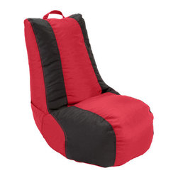 Ace Bayou - Ace Bayou 2 Color Video Bag in Red/Black - This beanbag has durable vinyl fabric and double-stitched seams for durability.