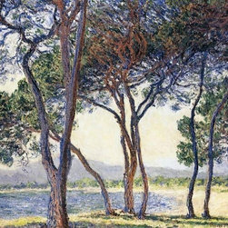 """Monet Trees by the Seashore at Antibes   Print - 18"""" x 24"""" Claude Oscar Monet Trees by the Seashore at Antibes premium archival print reproduced to meet museum quality standards. Our museum quality archival prints are produced using high-precision print technology for a more accurate reproduction printed on high quality, heavyweight matte presentation paper with fade-resistant, archival inks. Our progressive business model allows us to offer works of art to you at the best wholesale pricing, significantly less than art gallery prices, affordable to all. This line of artwork is produced with extra white border space (if you choose to have it framed, for your framer to work with to frame properly or utilize a larger mat and/or frame).  We present a comprehensive collection of exceptional art reproductions byClaude Oscar Monet."""