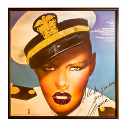 """Glittered Grace Jones album - Glittered record album. Album is framed in a black 12x12"""" square frame with front and back cover and clips holding the record in place on the back. Album covers are original vintage covers."""