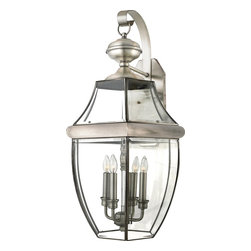 Quoizel - Quoizel NY8339P Newbury Transitional Outdoor Wall Sconce - When it comes to curb appeal, outdoor lighting plays a large part in creating a special ambiance.  The classic design and beveled glass of the Newbury gives the outside of your home a rich elegance, without making it look overembellished.  It's a versatile look that coordinates with most any architectural style.