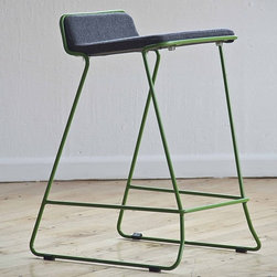 Bleecker Stools by Nuans Design - For those who love color and cool modern design in their bar stools, the Bleecker Stool will wow. It looks fantastic in both red metal with light grey wool or green metal with charcoal wool. Take your pick.