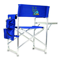 """Picnic Time - University of Delaware Sports Chair in Navy - The Sports Chair by Picnic Time is the ultimate spectator chair! It's a lightweight, portable folding chair with a sturdy aluminum frame that has an adjustable shoulder strap for easy carrying. If you prefer not to use the shoulder strap, the chair also has two sturdy webbing handles that come into view when the chair is folded. The extra-wide seat (19.5"""") is made of durable 600D polyester with padding for extra comfort. The armrests are also padded for optimal comfort. On the side of the chair is a 600D polyester accessories panel that includes a variety of pockets to hold such items as your cell phone, sunglasses, magazines, or a scorekeeper's pad. It also includes an insulated bottled beverage pouch and a zippered security pocket to keep valuables out of plain view. A convenient side table folds out to hold food or drinks (up to 10 lbs.). Maximum weight capacity for the chair is 300 lbs. The Sports Chair makes a perfect gift for those who enjoy spectator sports, RVing, and camping.; College Name: University of Delaware; Mascot: BlueHens; Decoration: Digital Print; Includes: 1 detachable polyester armrest caddy with a variety of storage pockets designed to hold the accessories you use most"""