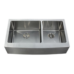 "Kraus - Kraus 36"" Farmhouse Double Bowl Stainless Steel Sink Combo Set                 , - Add an elegant touch to your kitchen with unique Kraus kitchen combo"