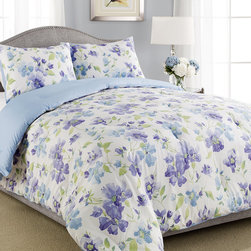 Laura Ashley - Laura Ashley Portia Traditional Floral 3-piece Comforter Set - This Laura Ashley luxury set is available as either a full/queen comforter set or a king/California king comforter set. With included matching shams,the white comforter is adorned with a vivid blue,green and purple floral pattern.