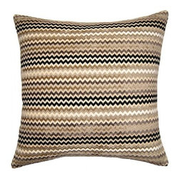Squarefeathers - On The Move, Zig Zag Pillow - The On the Move Collection is the perfect addition to your home this Fall. Warm up to stripes and dots in chocolate brown and tan. Made of rayon chenille, polyester, and rayon with a knife edge trim. It has a soft and pump feataher/down insert inclosed with a zipper. Like all of our products, this pillow is handmade, made to order exclusively in our studio right here in the USA.