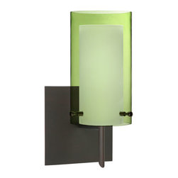 Besa Lighting - Pahu Bronze One-Light Halogen Square Canopy Wall Sconce with Transparent Olive a - - The Trans-Olive colored blown glass complements the soft white Opal cased glass, which can suit any classic or modern decor. Opal has a very tranquil glow that is pleasing in appearance, as the Trans-Olive glass sparkles with the accents from that glow. The smooth satin finish on the opal?s outer layer is a result of an extensive etching process. This blown glass combination is handcrafted by a skilled artisan, utilizing century-old techniques passed down from generation to generation.  - Bulbs Included  - Shade Ht (In): 7  - Shade Wd/Dia (In): 4  - Canopy/Fitter Ht (In): 5  - Canopy/Fitter Dia/Wd (In): 5  - Title XXIV compliant  - Primary Metal Composition: Steel  - Shade Material: Glass  - NOTICE: Due to the artistic nature of art glass, each piece is uniquely beautiful and may all differ slightly if ordering in multiples. Some glass decors may have a different appearance when illuminated. Many of our glasses are handmade and will have variances in their decors. Color, patterning, air bubbles and vibrancy of the d�cor may also appear differently when the fixture is lit and unlit. Besa Lighting - 1SW-L44007-BR-SQ