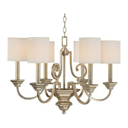 """Lamps Plus - Traditional Fifth Avenue Collection 6-Light 28"""" Wide Chandelier - Extravagant details make this six light chandelier from Fifth Avenue Collection stand out amongst your home decor. The winter gold finish gives it a tinge of an antique feel while the pleated fabric shades add a more traditional touch. Its perfect for a dramatic focal point. Winter gold finish. Pleated fabric stay straight shades. Takes six 60 watt bulbs (not included). 28"""" wide. 20"""" high. Includes 10ft chain 15ft wire. Canopy is 5 1/2"""" square.  Winter gold finish.   Pleated fabric stay straight shades.   Takes six 60 watt bulbs (not included).   Canopy is 5 1/2"""" square.   Includes 10ft chain 15ft wire.   28"""" wide.   20"""" high."""