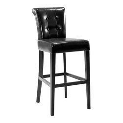 Armen Living - Armen Living Sangria Stationary Counter High Barstool in Black - Armen Living - Bar Stools - LC4032BABL26 - Great looking sway back tufted leather 26 inches counter high stationary barstool. Very easy to clean. Armen Living is the quintessential modern-day furniture designer and manufacturer. With flexibility and speed to market Armen Living exceeds the customers expectations at every level of interaction. Armen Living not only delivers sensational products of exceptional quality but also offers extraordinarily powerful reliability and capability only limited by the imagination. Our client relationships are fully supported and sustained by a stellar name legendary history and enduring reputation. The groundbreaking new Armen Living line represents a refreshingly innovative creative collaboration with top designers in the home furnishings industry. The result is a uniquely modern collection gorgeously enhanced by sophisticated retro aesthetics. Armen Living celebrates bold individuality vibrant youthfulness sensual refinement and expert craftsmanship at fiscally sensible price points. Each piece conveys pleasure and exudes self expression while resonating with the contemporary chic lifestyle.
