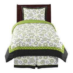 Sweet Jojo Designs - Spirodot Lime and Black 4-Piece Twin Bedding Set by Sweet Jojo Designs - The Spirodot Lime and Black 4-Piece Twin Bedding Set by Sweet Jojo Designs, along with the bedding accessories.