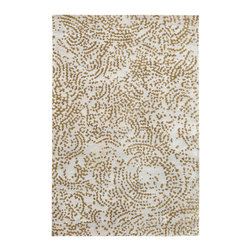 Shibui Rug - Dark Lavender Grey and Dark Khaki - 8' x 11' - Exotically alluring, the Shibui rug displays a beguilingly abstract design composed of hand-knotted wool and silk. Scattered from edge to edge on a soft lavender-gray background, the dark-khaki arrangement begins to suggest a delicate Asian bloom in some sections before giving way to a highly original contemporary graphic patterns. Constructed of 100% hand-knotted New Zealand wool and silk accents in a plush pile, the Shibui is available in a full range of sizes and shapes.