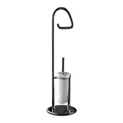 Toscanaluce - Free Standing Plexiglass Toilet Paper Holder And Toilet Brush Holder Stand - Unique, contemporary design bathroom butler with toilet paper holder and toilet brush holder with chrome base.