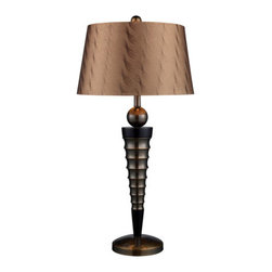 Dimond Lighting - Dimond Lighting D1738 Laurie 1 Light Table Lamps in Dunbrook And Dark Wood - Laurie Table Lamp in Dunbrook Finish with Bronze Tone on Tone Faux Silk Shade - Light Bronze Fabric Liner