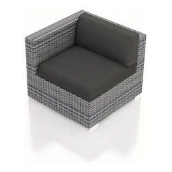 Harmonia Living - Urbana Outdoor Modern Left Arm Chair, Weathered Stone Wicker, Charcoal Cushions - The Urbana Outdoor Wicker Left Arm Facing Chair with Gray Sunbrella Cushions (SKU HL-URBNWS-LAS-CC) is the perfect starting or end point for building your own stylish Urbana Sectional. Made with High-Density Polyethylene (HDPE) wicker, a fade-resistant color is designed to withstand the elements. The section is constructed with a sturdy, thick-gauged aluminum frame, protected with a powder coating for even greater corrosion resistance. The seats are also reinforced to provide support and prevent excessive wicker stretching from repeated use. Both seat and back cushions are included, with your choice among four fade- and mildew- resistant Sunbrella fabric options.