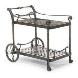 Frontgate - Carlisle Serving Cart in Gray Finish, Patio Furniture - Strong cast aluminum cart. Multilayered finish. UV protected. Wheeled for mobility. Assembly required; view instructions. Our Carlisle Slate Serving Cart makes it beautifully easy to enjoy tableside service while you dine or imbibe. Merely push to bring beverages and foods to guests. Cast in strong aluminum, the cart features two tiers with smooth lattice-embossed surfaces, wide handle, and rich ebony finish. Two rubber-tipped wheels and a pair of casters enable the cart to smoothly glide over any surface. Part of the Carlisle Slate Collection.  .  .  .  . .