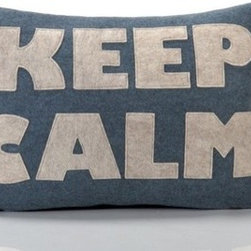 Alexandra Ferguson - Good Advice Keep Calm Decorative Pillow - State your opinion - and your conviction for saving the earth - with this must-have home accessories collection for the eco-aware. Alexandra Ferguson recycled felt appliqué pillows are standard bearer's of an increasingly rare, one-of-a-kind uniqueness and quality, made in the USA from beginning to end. Features: -Material: 55% Hemp / 45% organic cotton. -All of the felt used is made from 100% recycled plastic PET containers. -Polyfill inserts and zipper closure. -Can be easily spot cleaned.