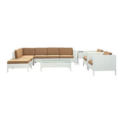 """LexMod - La Jolla 9 Piece Outdoor Patio Sectional Set in White Mocha - La Jolla 9 Piece Outdoor Patio Sectional Set in White Mocha - Shine with hidden brilliance with this powerful force of an outdoor living arrangements. Finely constructed white rattan seating sectionals with all-weather mocha fabric cushions give a sense of space and roominess that allow for true flexibility and comfort. Aim higher and give thanks and appreciation to picture perfect days spent outside. Set Includes: One - La Jolla Outdoor Wicker Patio Armless Chair One - La Jolla Outdoor Wicker Patio Coffee Table One - La Jolla Outdoor Wicker Patio Corner Section One - La Jolla Outdoor Wicker Patio Left Arm Section One - La Jolla Outdoor Wicker Patio Loveseat One - La Jolla Outdoor Wicker Patio Ottoman One - La Jolla Outdoor Wicker Patio Side Table Two - La Jolla Outdoor Wicker Patio Armchairs Synthetic Rattan Weave, Powder Coated Aluminum Frame, Water & UV Resistant, Machine Washable Cushion Covers, Easy To Clean Tempered Glass Top, Ships Pre-Assembled Overall Product Dimensions: 113""""L x 105""""W x 28""""H Left Arm Section Dimensions: 35""""L x 31""""W x 28""""H Corner Section Dimensions: 31""""L x 31""""W x 28""""H Armless Chair Dimensions: 28""""L x 31""""W x 28""""H Coffee Table Dimensions: 47""""L x 28""""W x 13""""H Side Table Dimensions: 18""""L x 18""""W x 24""""H Armchair Dimensions: 35""""L x 31""""W x 28""""H Loveseat Dimensions: 47""""L x 31""""W x 28""""H Ottoman Dimensions: 31""""L x 31""""W x 13""""H Armrest Dimensions: 3""""W x 14.5""""HBACKrest Height: 14.5""""H Cushion Thickness: 3""""H Seat Height: 13""""H - Mid Century Modern Furniture."""