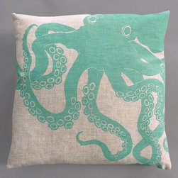"Dermond Peterson - Octopus Turquoise Pillow on Natural Linen - Bright, playful, and fun! Dermond Peterson pillows are a chic and sophisticated way to add a piece of art to your living room or bedroom. Features: -Color: Turquoise and Natural Linen. -Each pillow is made to order. -Hand block printed on natural linen using water based ink. -Feather and down insert. -Pillowcase is machine washable. -Machine wash cold on gentle cycle. -Made in Milwaukee, WI. -Overall dimensions: 20"" H x 20"" W x 4"" D."