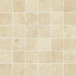 Limestone Collection Ivory 2X2 Mosaic - Subtle organic beauty marks StonePeak's unglazed porcelain limestone.