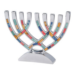 Gift Mark - Gift Mark Contemporary Menorah with Multi Colored Inlay-M-4805 - Our 9 Branch Menorah is hand crafted of a Highly Polished Metal alloy. It has beautiful detailed Multi Colored inlay through out the Menorah. The arched base makes this a beautiful hand crafted Menorah..