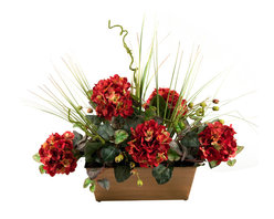 D&W Silks - D&W Silks Red Hydrangeas With Mixed Foliage In A Metal Ledge Planter - Red Hydrangeas, Oxalis Ivy, Rosehips and Onion Grass