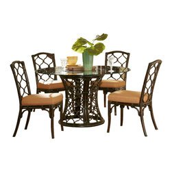 Hammary - Hammary Boracay 5-Piece Round Glass Dining Room Set in Rattan - The Boracay round dining table by Hammary is inspired by island lifestyle. The rattan table base is has a dark brown stain which creates a rich, exotic feel. A snakestone rim top supports the beveled glass surface and adds visual intrigue to the table.