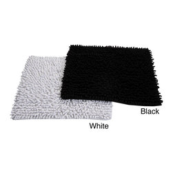 None - Loopy Chenille Handwoven Square 24 x 24 Bath Rug - Dress your bathroom or kitchen floor with the hand-woven 100-percent cotton chenille bath mat available in your choice of black or white finish. Soft and absorbent,this rug is machine washable for easy care and repeated use.