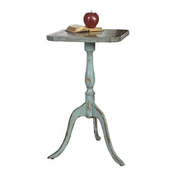 Valent Blue Accent Table - Petite with a presence. The Valent Blue Accent Table simply charms with its engaging form fashioned from carved mango wood with mindi veneer and a hand applied robin�s egg blue finish. Gentle distressing imparts the look of an heirloom piece beloved for both its practicality and its beauty.