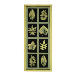 Safavieh - Black & Green Leaf Print Rug (2 ft. 6 in. x 12 ft.) - Size: 2 ft. 6 in. x 12 ft.. Hand Hooked. Made of Wool.