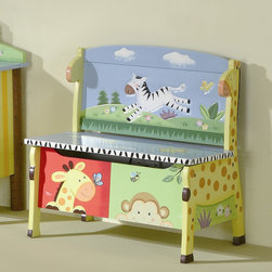 Teamson Kids - Sunny Safari Kid's Storage Bench - Features: -Novelty Chair.-Handmade.-Hand painted.-Handcrafted.-Unique design.-Quality construction.-Sunny Safari Collection.-Collection: Sunny Safari.-Distressed: No.Dimensions: -Overall Dimensions: 23.38'' H x 24.75'' W x 14.63'' D.