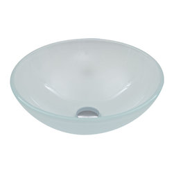 Vigo - White Frost Glass Vessel Bathroom Sink - The VIGO White Frost glass vessel bowl features a translucent, soft white color, creating a bright new look for your bathroom.
