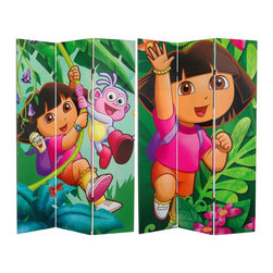 Oriental Furniture - 6 ft. Tall Double Sided Dora and Friends Canvas Room Divider - Dora the Explorer with fellow travelers Boots and Map, on a full sized furniture quality limited edition panel screen. Life-sized digital print reproductions of original cartoon animator's graphics from the popular children's television series. Delightful design element great for bedroom, family room, or play room decor, lively decorative accent as well as practical, portable partition.