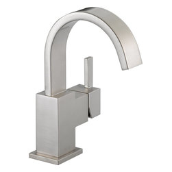 Delta - Delta 553LF-SS Vero Single Handle Centerset Bathroom Faucet in Stainless - Delta 553LF-SS Vero Single Handle Centerset Bathroom Faucet in StainlessIts sleek and minimalist design are just two reasons the ribbon-inspired Vero Collection is the perfect urban oasis.  Getting ready in the morning is far from routine when you are surrounded by a bath that reflects your personal style.  Offered in chrome and stainless, the Vero Bath Collection comes with a full suite of coordinating accessories, providing a decorative look throughout the bath.Delta 553LF-SS Vero Single Handle Centerset Bathroom Faucet in Stainless, Features:• 1.5 gpm, 5.7 L/min