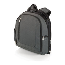 Picnic Time - PT-Navigator Cooler Backpack - Navy with Black - The PT-Navigator is a Picnic Time original design that combines an insulated cooler backpack with an integrated fold-down seat and backrest. It features an exterior water bottle pocket, carrying handle and padded, adjustable backpack straps. A webbing strap on the bottom of the seat secures it to bleachers or a bench. Made of 600D polyester with steel frame and leatherette underside, the PT-Navigator is durable enough to take with you on any outing, and makes a thoughtful gift for casual hikers and those who enjoy watching spectator sports.