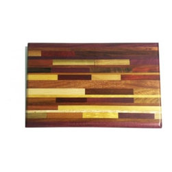 "Exotic Chopping Blocks - 8"" x 12"" Brick Pattern Cutting Board - This board is beautiful in its uniqueness and functional due to its make. There are many woods in this board, some of which being Purple Heart, Yellow Heart, Red Heart, and Canary from South America, and Bird's Eye Maple, Dark Walnut, and Poplar from North America. All the woods are their natural colors. There has been no paint or stain added."