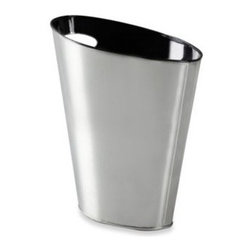 Umbra Llc - Umbra Skinny Metal Trash Can Black/Nickel - Give any study or office a sleek, industrial look with this ultra-modern wastebasket. This skinny metal can has a nickel finish with a painted black interior and is versatile enough to fit narrow spaces.